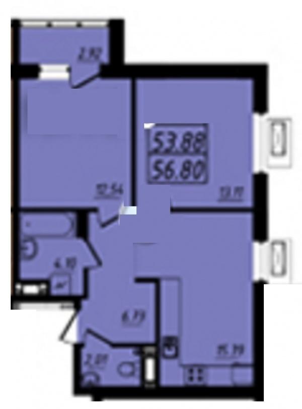 Планировки двухкомнатных квартир 56.8 м^2